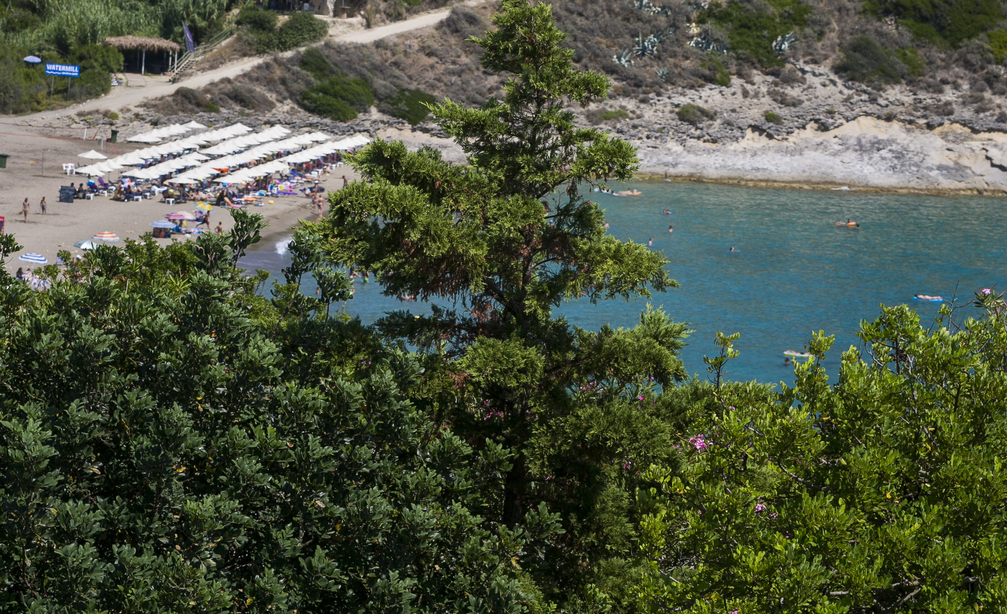 View from Acacia's garden to Agia Helis beach