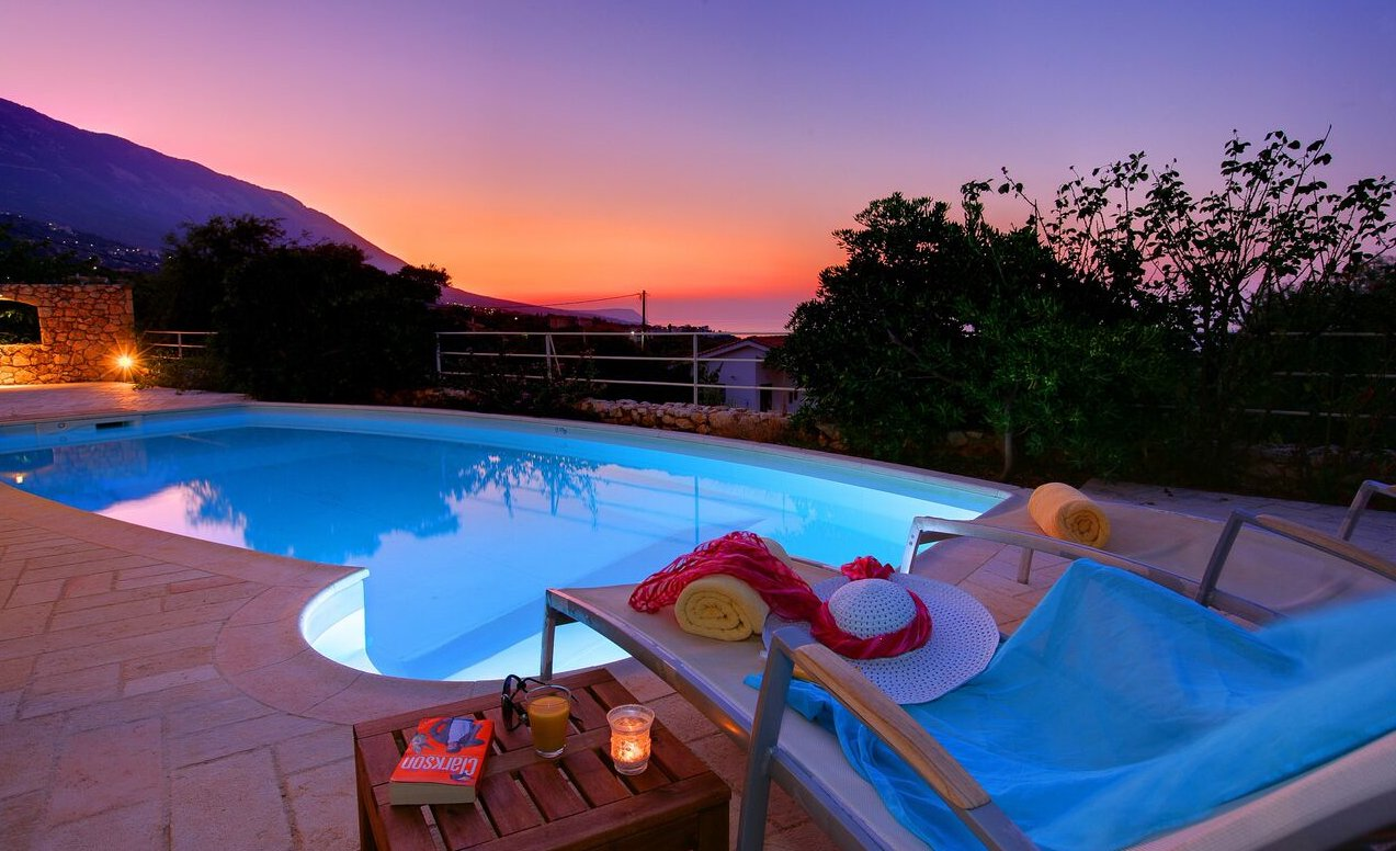 Pool terrace at sunset